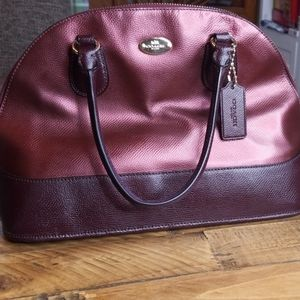 Coach Cora Domed Metallic Satchel Cherry Oxblood